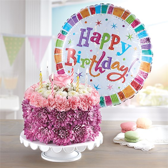 1 800 FlowersR Birthday Wishes Flower Cake TM Pastel